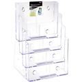 DEFLECTO 77441 BROCHURE HOLDER A4 FOUR 4 TIER CLEAR